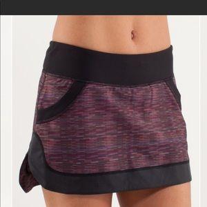 Lululemon Run: For All Skirt Multi Black Purple 6